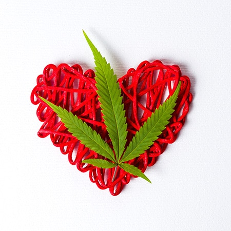 Cannabis leaf on a Valentines Heart - 5 reasons to combine Cannabis and Sex on Valentine's Day ( and Every Day)
