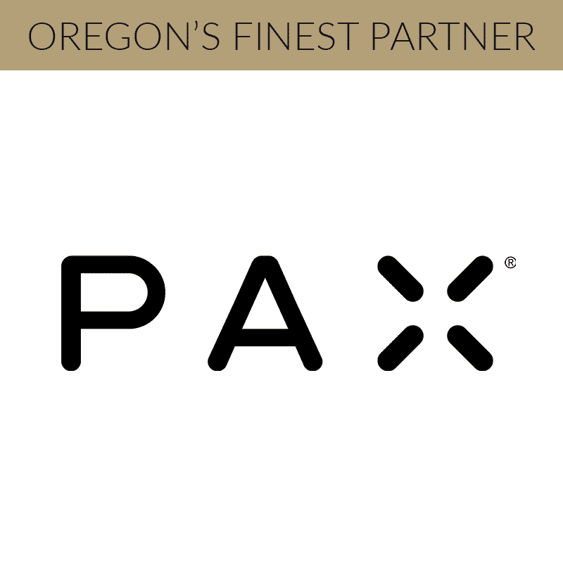 """white box with the PAX logo centered and a gold bar at the top that says """"oregon's finest friends"""""""
