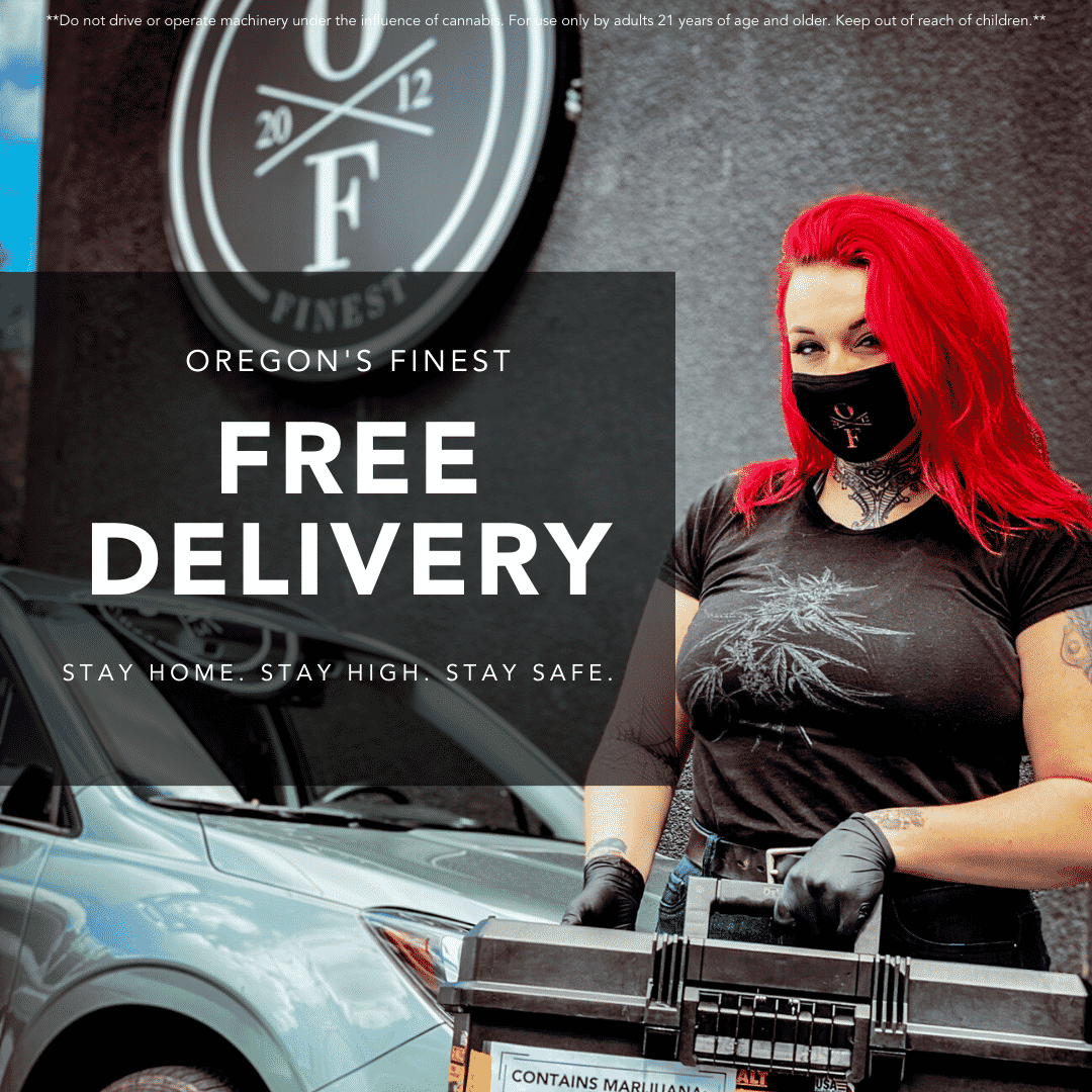 woman wearing a mask and gloves holding marijuana delivery box in front of a delivery vehicle