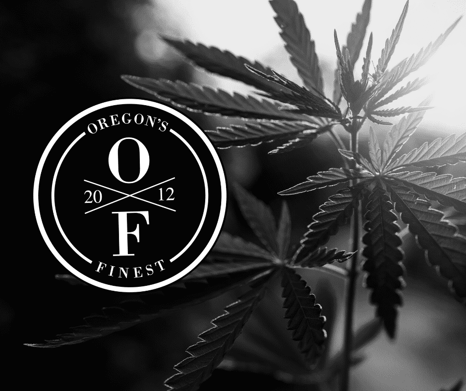 Oregon's Finest logo - a circle around the letters O and F separated by an X with the year 2012 - in front of a black and white photo of a weed plant with the sun peeking through