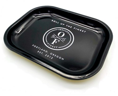 a black branded oregon's finest rolling tray